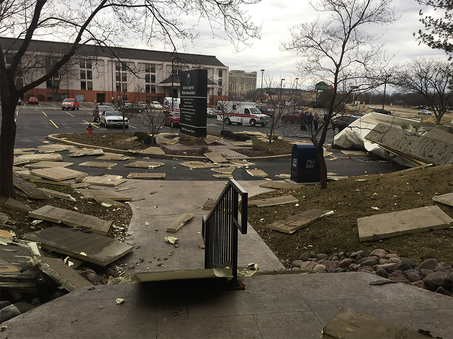 Debris as seen from inside the IBSA Building.
