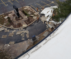 A view of the debris below. Photo by Pat Trees.