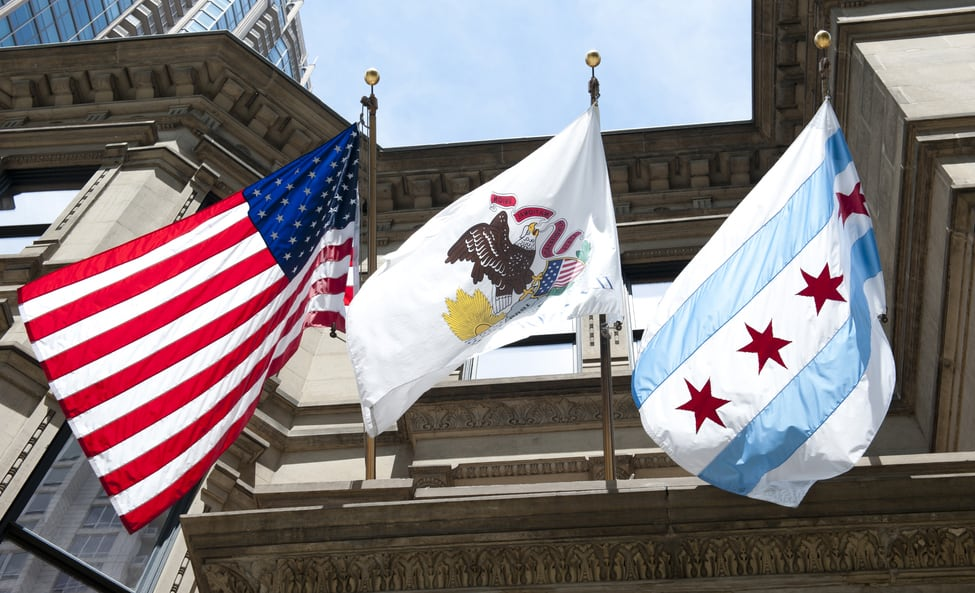 American, Illinois, and Chicago flags