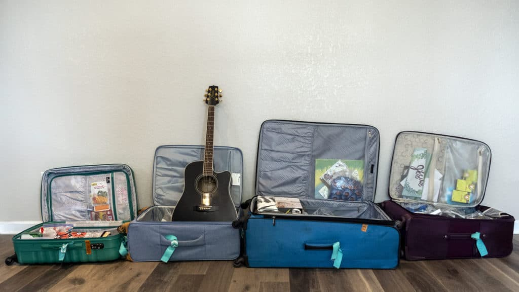 Bags packed, ready, and waiting.