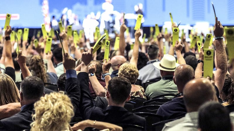 Messengers vote at the SBC 21 Annual Meeting