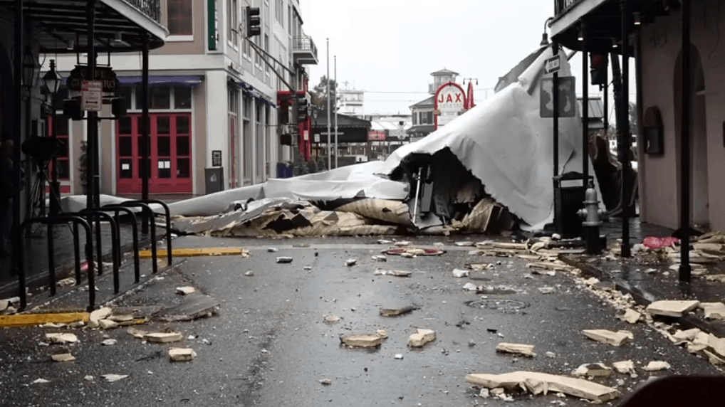 Flooding and wind damage were reported in New Orleans following Hurricane Ida's landfall on Aug. 29 as a Category 4 hurricane. (Screenshot/Fox46 Charlotte Facebook video)