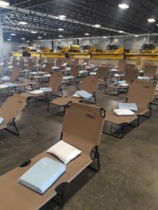 Cots ready for Afghan refugees at Chicago's O'Hare Airport.
