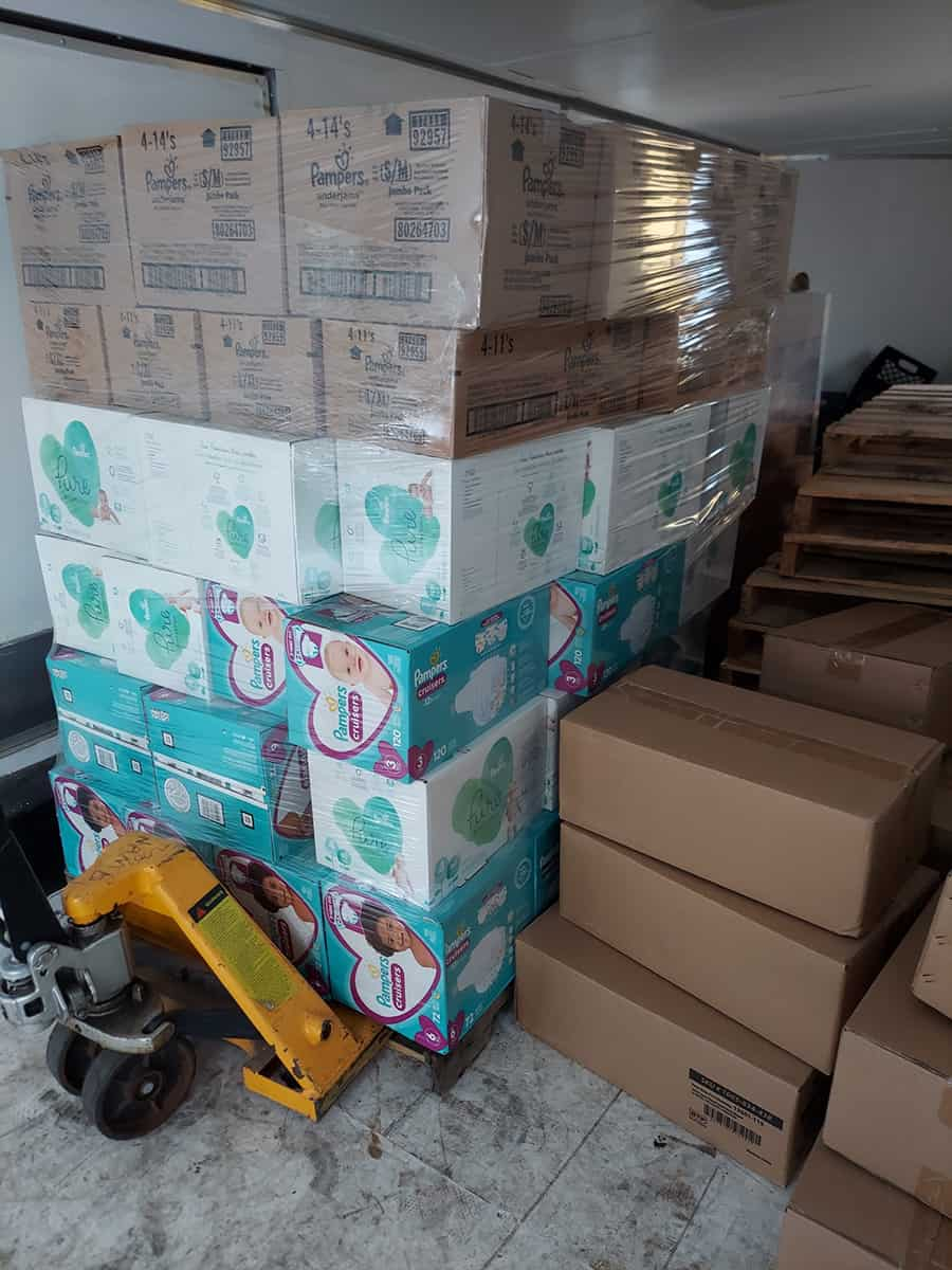 A pallet of supplies provided by IBDR for Afghan refugees.