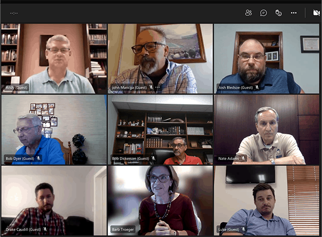 Screenshot of the IBSA Board Meeting, September 14, 2021.