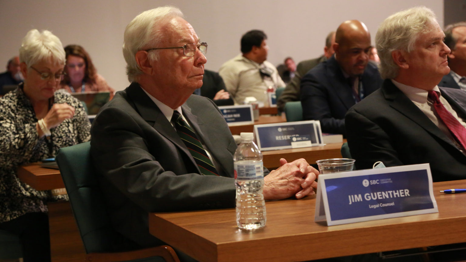 Jim Guenther and Jamie Jordan listen to discussions taking place during the Sept. 20–21 SBC Executive Committee meeting in Nashville. (Photo by Van Payne/TheBaptistPaper.org)
